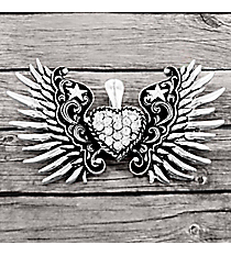 Silvertone Scroll Winged Clear Crystal Heart Pendant #AP0146-AS