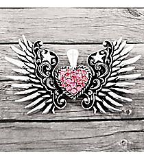 Silvertone Scroll Winged Pink Crystal Heart Pendant #AP0146-ASP