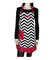 Black and White Chevron and Hot Pink Frill Apron with Pocket #AP1200SV-BLK/HP