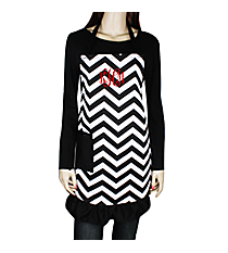 Black and White Chevron Frill Apron with Pocket #AP1200SV-BLK/WHT