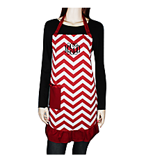 Burgundy and White Chevron Frill Apron with Pocket #AP1200SV-BUG/WHT