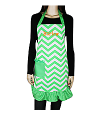 Green and White Chevron Frill Apron with Pocket #AP1200SV-GREEN/WHT