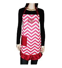 Hot Pink and White Chevron Frill Apron with Pocket #AP1200SV-HP/WHT