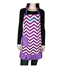 Purple and White Chevron Frill Apron with Pocket #AP1200SV-PURPLE/WHT
