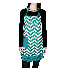 Turquoise and White Chevron Frill Apron with Pocket #AP1200SV-TURQ/WHT