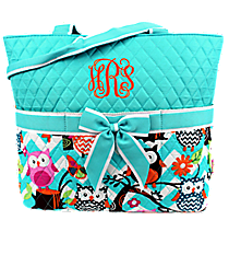 Chevron Owl Party Quilted Diaper Bag with Aqua Trim #AQL2121-AQUA