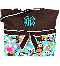 Chevron Owl Party Quilted Diaper Bag with Brown Trim #AQL2121-BROWN
