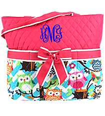 Chevron Owl Party Quilted Diaper Bag with Hot Pink Trim #AQL2121-H/PINK