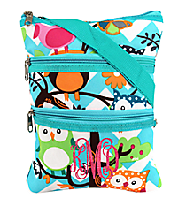 Chevron Owl Party Crossbody Bag with Aqua Trim #AQL231-AQUA