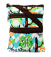 Chevron Owl Party Crossbody Bag with Brown Trim #AQL231-BROWN