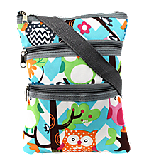 Chevron Owl Party Crossbody Bag with Gray Trim #AQL231-GRAY