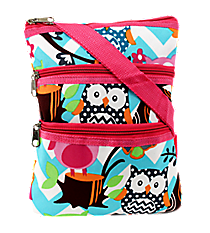 Chevron Owl Party Crossbody Bag with Hot Pink Trim #AQL231-H/PINK