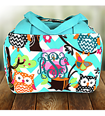 Aqua Chevron Owl Party Insulated Bowler Style Lunch Bag with Aqua Trim #AQL255-AQUA