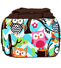 Chevron Owl Party Insulated Bowler Style Lunch Bag with Brown Trim #AQL255-BROWN