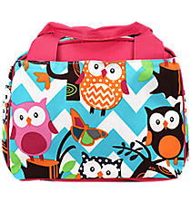 Chevron Owl Party Insulated Bowler Style Lunch Bag with Hot Pink Trim #AQL255-H/PINK