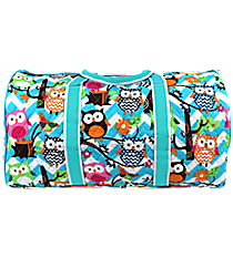 "21"" Chevron Owl Party Quilted Duffle Bag with Aqua Trim #AQL2626-AQUA"