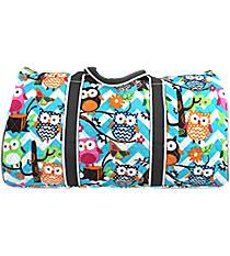 "21"" Chevron Owl Party Quilted Duffle Bag with Gray Trim #AQL2626-GRAY"