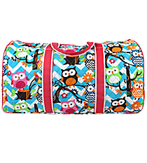 "21"" Chevron Owl Party Quilted Duffle Bag with Hot Pink Trim #AQL2626-H/PINK"