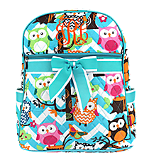 Chevron Owl Party Quilted Large Backpack with Aqua Trim #AQL2828-AQUA