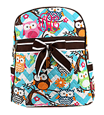 Chevron Owl Party Quilted Large Backpack with Brown Trim #AQL2828-BROWN
