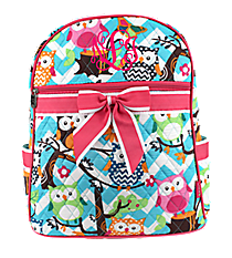 Chevron Owl Party Quilted Large Backpack with Hot Pink Trim #AQL2828-H/PINK