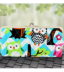 Twice as Nice Clutch Wallet in Quilted Aqua Chevron Owl Party #AQL333-AQUA