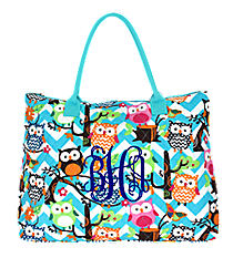 Chevron Owl Party Quilted Large Shoulder Tote with Aqua Trim #AQL3907-AQUA