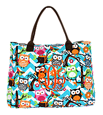 Chevron Owl Party Quilted Large Shoulder Tote with Brown Trim #AQL3907-BROWN