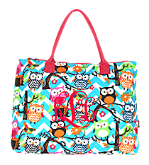 Chevron Owl Party Quilted Large Shoulder Tote with Hot Pink Trim #AQL3907-H/PINK