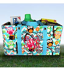 Aqua Chevron Owl Party with Aqua Trim Collapsible Haul-It-All Utility Basket #AQL401-AQUA