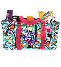 Chevron Owl Party with Hot Pink Trim Collapsible Haul-It-All Utility Basket #AQL401-H/PINK