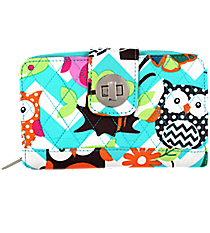 Aqua Chevron Owl Party Quilted Organizer Clutch Wallet #AQL517-AQUA