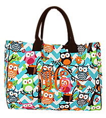 Chevron Owl Party Wide Tote Bag with Brown Trim #AQL581-BROWN