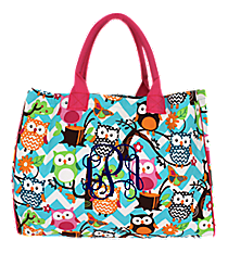 Chevron Owl Party Wide Tote Bag with Hot Pink Trim #AQL581-H/PINK