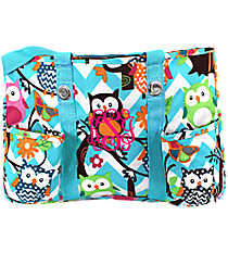 Chevron Owl Party Utility Tote with Aqua Trim #AQL585-AQUA