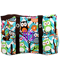 Chevron Owl Party Utility Tote with Brown Trim #AQL585-BROWN