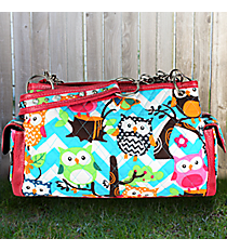 Aqua Chevron Owl Party Quilted Satchel with Hot Pink Trim #AQL977-HPINK