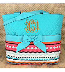 Aztec Print with Aqua Trim Quilted Diaper Bag #AQM2121-AQUA