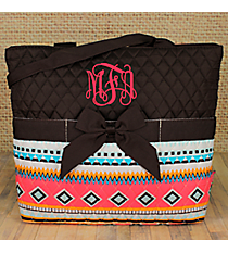 Aztec Print with Brown Trim Quilted Diaper Bag #AQM2121-BROWN