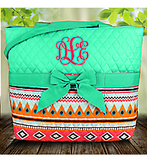 Aztec Print with Mint Trim Quilted Diaper Bag #AQM2121-MINT