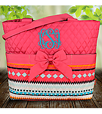 Aztec Print with Pink Trim Quilted Diaper Bag #AQM2121-PINK