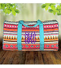 """21"""" Aztec Print with Aqua Trim Quilted Duffle Bag #AQM2626-AQUA"""