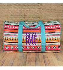 "21"" Aztec Print with Aqua Trim Quilted Duffle Bag #AQM2626-AQUA"