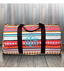"21"" Aztec Print with Brown Trim Quilted Duffle Bag #AQM2626-BROWN"