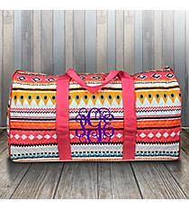 "21"" Aztec Print with Pink Trim Quilted Duffle Bag #AQM2626-PINK"