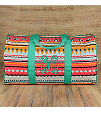 "21"" Aztec Print with Mint Trim Quilted Duffle Bag #AQM2626-MINT"