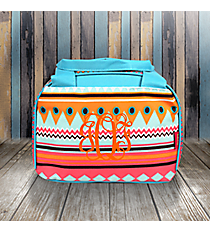 Aztec Print with Aqua Trim Insulated Bowler Style Lunch Bag #AQM255-AQUA