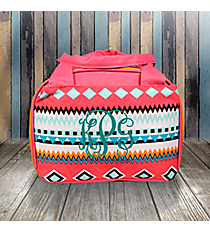 Aztec Print with Pink Trim Insulated Bowler Style Lunch Bag #AQM255-PINK