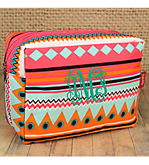 Aztec Print with Pink Trim Cosmetic Case #AQM613-PINK