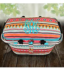Aztec Print with Aqua Trim Collapsible Insulated Market Basket with Lid #AQM658-AQUA